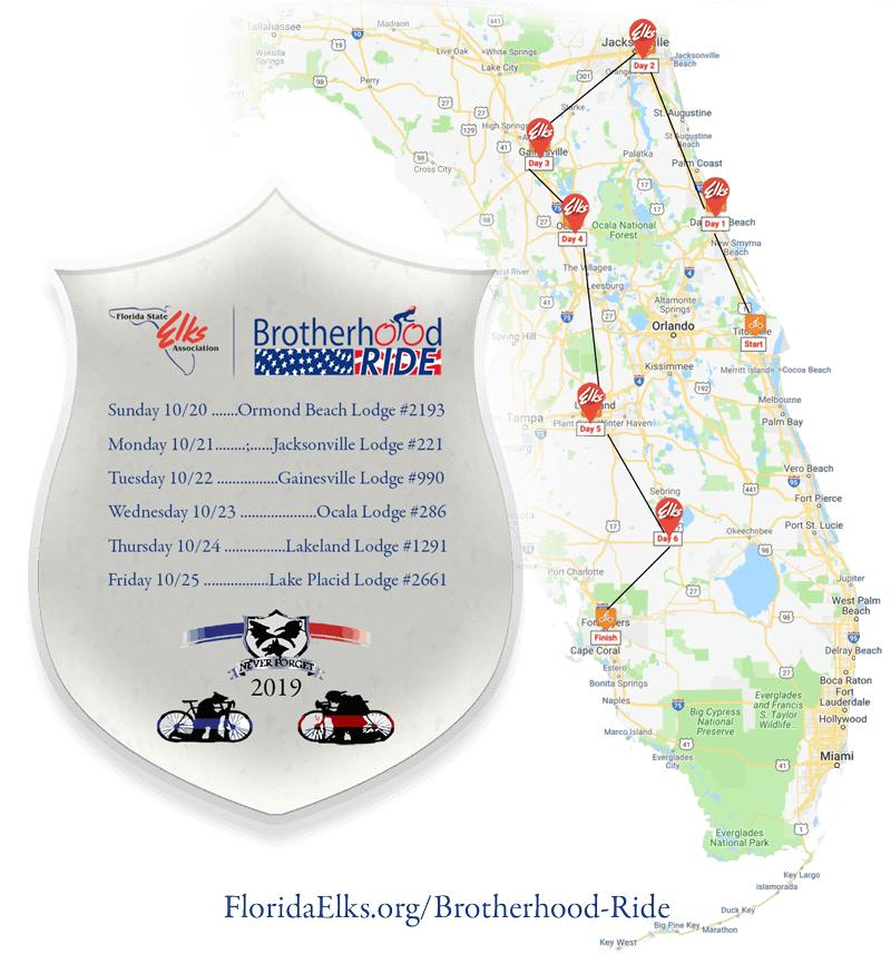2019 Brotherhood Ride Map