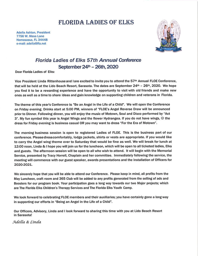 57th Annual FLOE Conference Welcome Letter
